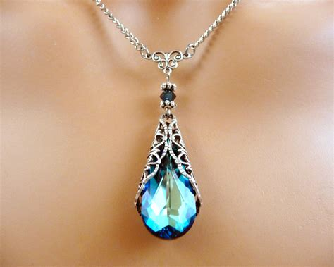 swarovski jewelry swarovski jewelry necklace gift blue