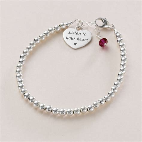 silver beaded bracelet dainty silver bead bracelet with birthstone engraving