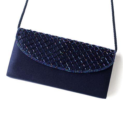 Beautiful Navy Satin Beaded Evening Bag 213 Navy And