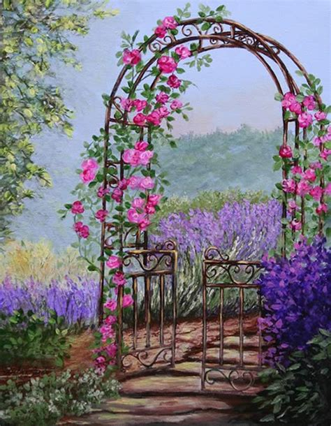 garden gate flowers painting garden gate floral paintings 169 shirley reade