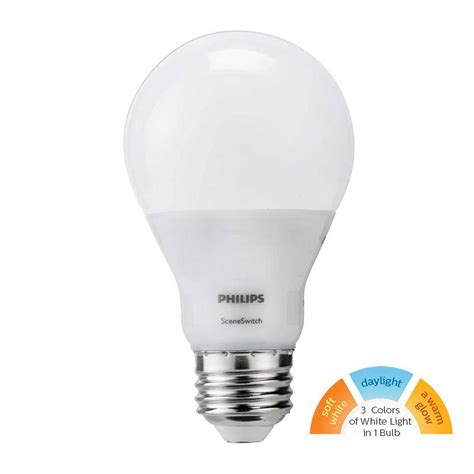 led white light bulb philips 60w equivalent daylight soft white warm glow