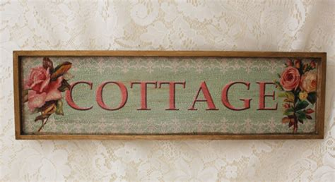 Cottage Decoupage Wooden Sign On Green