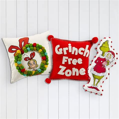 grinch theme grinch pom pom pillow pbteen