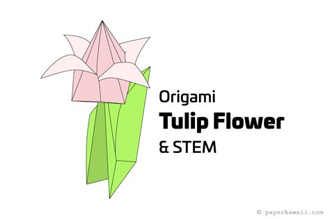 how to make an origami flower stem how to make an origami tulip flower stem