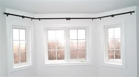 curved curtain rod for bow window home design ideas