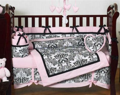 pink black and white crib bedding pink and black damask baby shower
