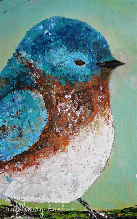 painting birds acrylic palette knife acrylic painting blue bird