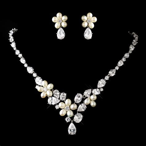 jewelry set antique silver cz pearl wedding jewelry set