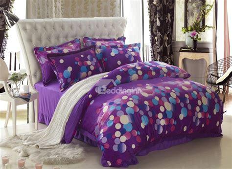 purple bedding set classic dots print purple 4 bedding sets duvet cover
