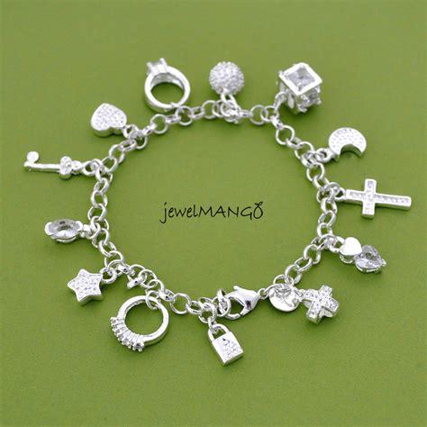 charms jewelry silver charm bracelet cross ring key moon lock