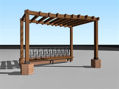 pergola with bench garden pergola with bench 3d model 3ds max files free
