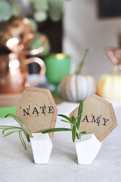 how to make a place card holder diy geometric clay place card holders design sponge