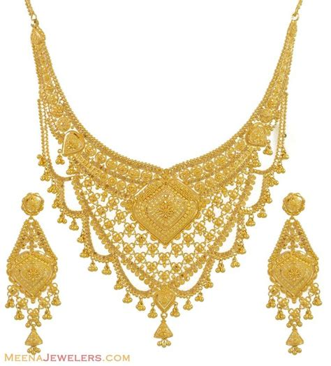 indian necklace gold necklace and earrings set 22kt indian jewelry with