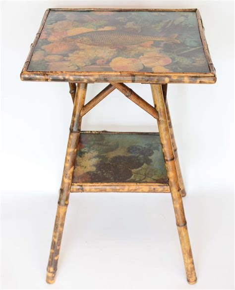 decoupage tables for sale antique two tier decoupage bamboo table for sale at 1stdibs