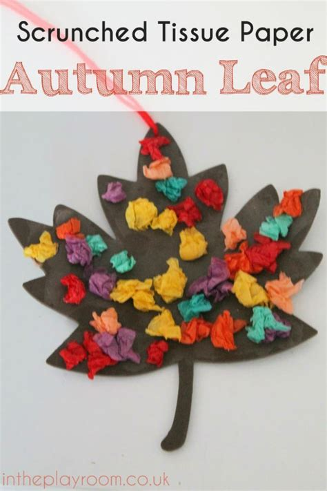 tissue paper crafts for preschoolers scrunched tissue paper autumn leaf fall craft crafting