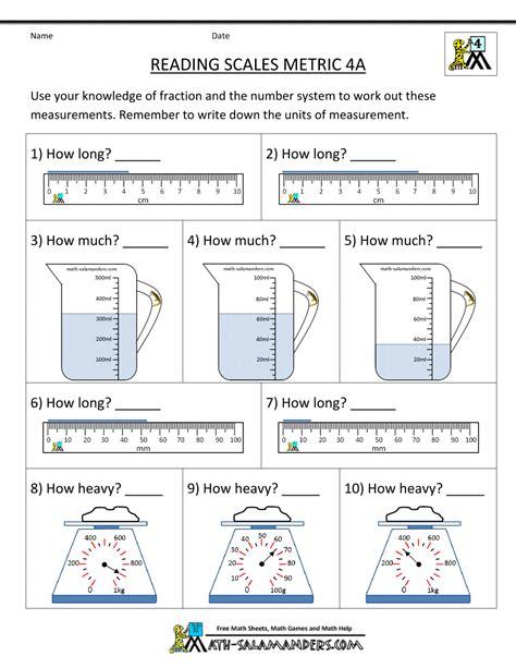 for 4th graders 4th grade measurement worksheets