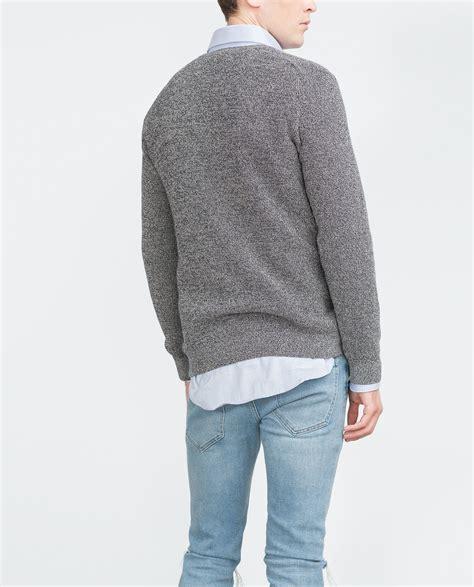 zara knitted sweater zara twist knit sweater in gray for navy blue lyst