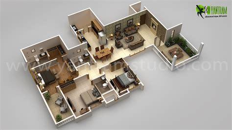3d plan modern house 3d floor plan design on behance