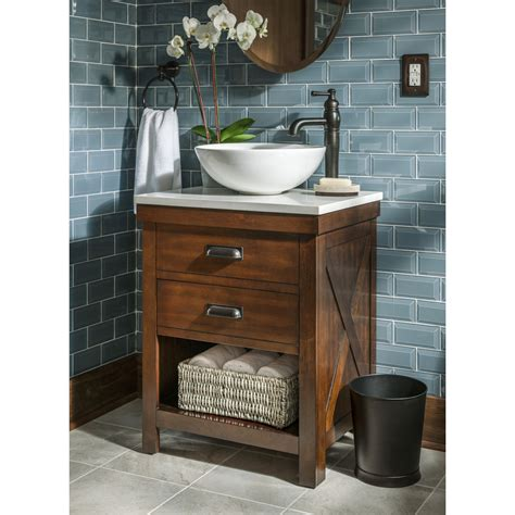 bathroom sink vanity top shop allen roth cromlee bark vessel poplar bathroom