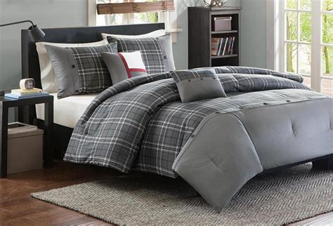 youth bedding sets for boys grey plaid or comforter set boys