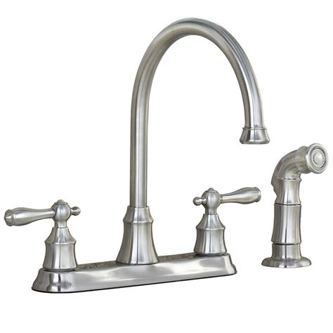 aquasource kitchen faucets shop aquasource stainless steel pvd 2 handle high arc kitchen faucet with side spray at lowes