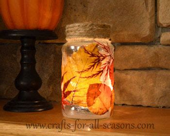 Decoupage Leaf Jar Debeesbuzz