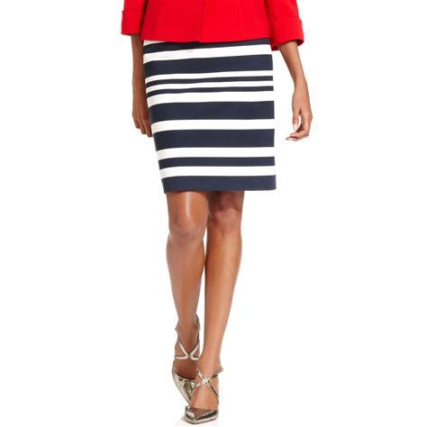 ponte knit pencil skirt tahari striped ponte knit pencil skirt in blue navy ivory