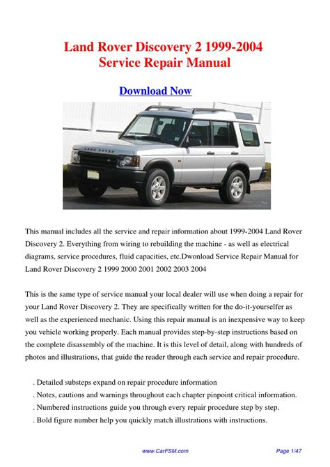 free online car repair manuals download 2004 land rover discovery electronic throttle control service manual downloadable manual for a 1999 land rover discovery series ii land rover