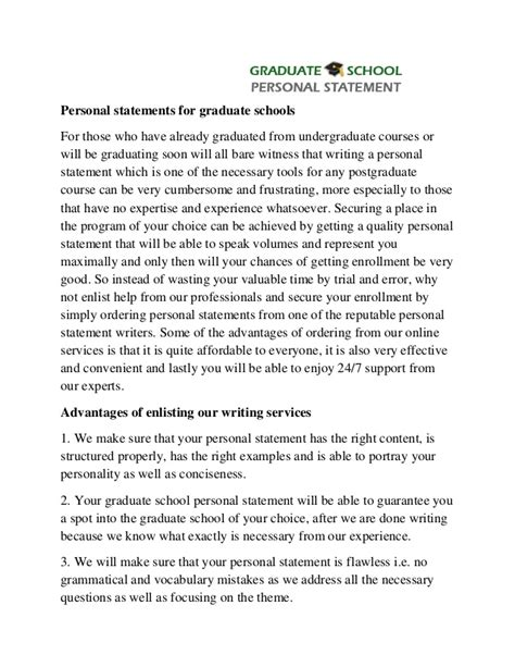 professional help with graduate personal statement