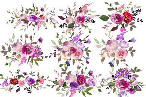 purple watercolor flowers clipart by whiteheartdesign