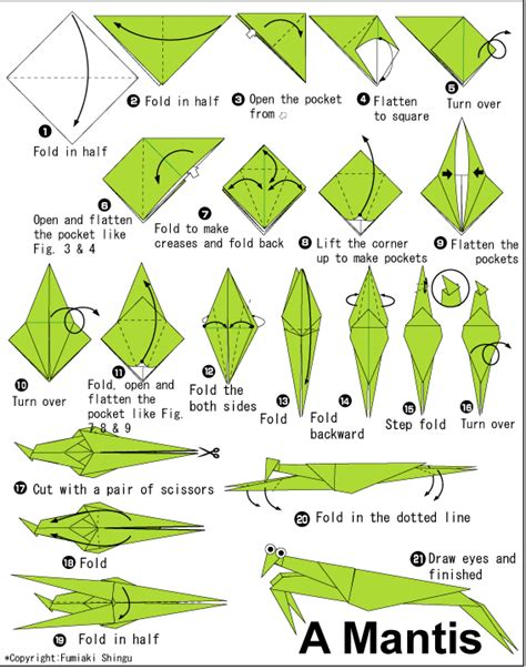 origami animals diagrams origami praying mantis connecticut state insect i want