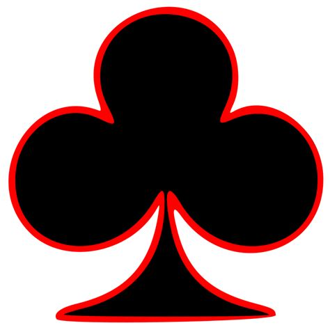 card clubs clipart outlined club card symbol