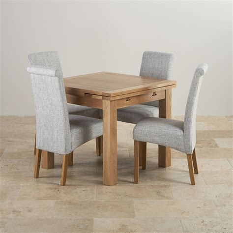 oak extending dining table and 4 chairs dorset oak 3ft dining table with 4 grey fabric chairs