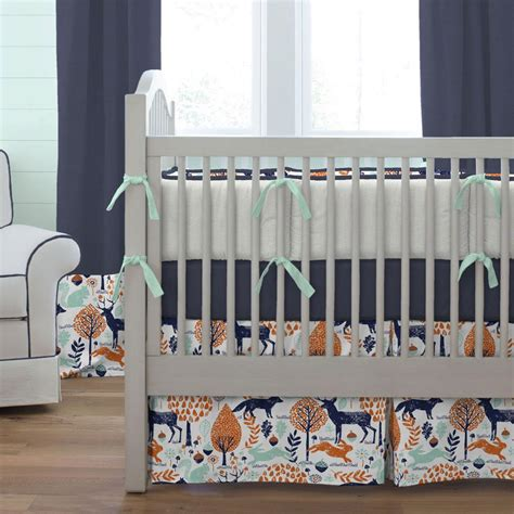 woodland creatures crib bedding navy and orange woodland animals crib skirt box pleat
