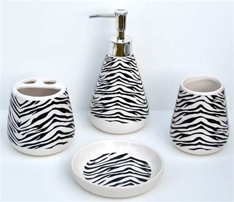 zebra bathroom accessories zebra print bathroom accessory set thatsthestuff net