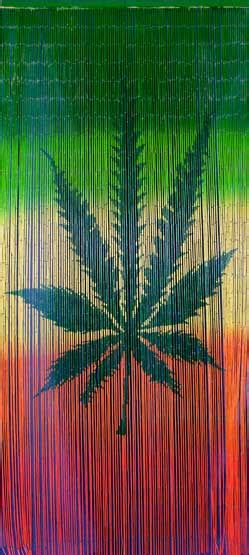 rasta door bamboo doorway curtain with hemp leaf and rasta colors