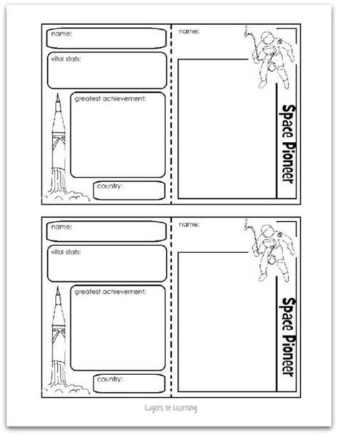 make your own trading cards template space pioneers layers of learning
