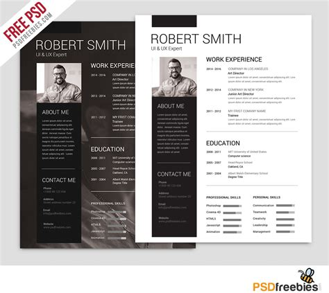 templates free simple and clean resume free psd template psdfreebies