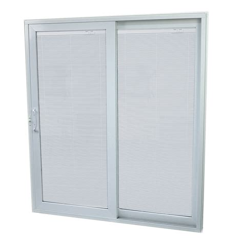 patio sliding glass doors lowes shop securaseal 59 in low e argon blinds between glass composite sliding patio door at lowes