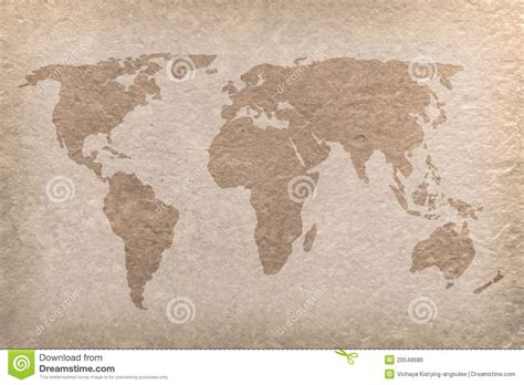 Vintage World Map Paper Craft Royalty Free Stock Image