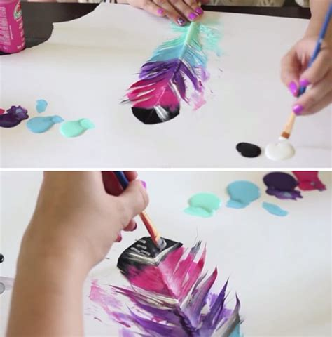 painting craft projects diy painted feathers
