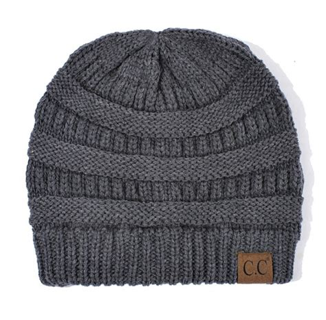 grey knit beanie melange grey ribbed knit cc beanie hat
