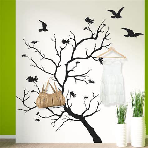 stickers porte manteau arbre oiseaux pas cher
