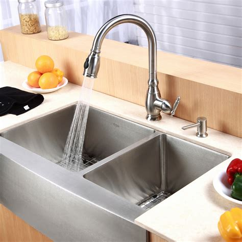 60 40 kitchen sink kraus farmhouse 33 quot 60 40 bowl kitchen sink