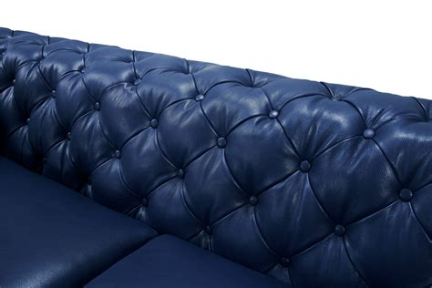 tufted leather sofa set divani casa soma modern blue tufted leather sofa set