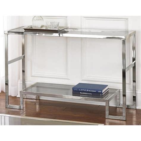sofa table overstock cordele chrome and glass sofa table overstock