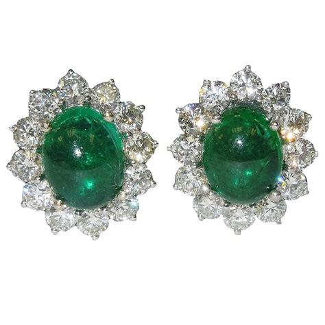 cabochon jewelry cabochon emerald gold earrings at 1stdibs
