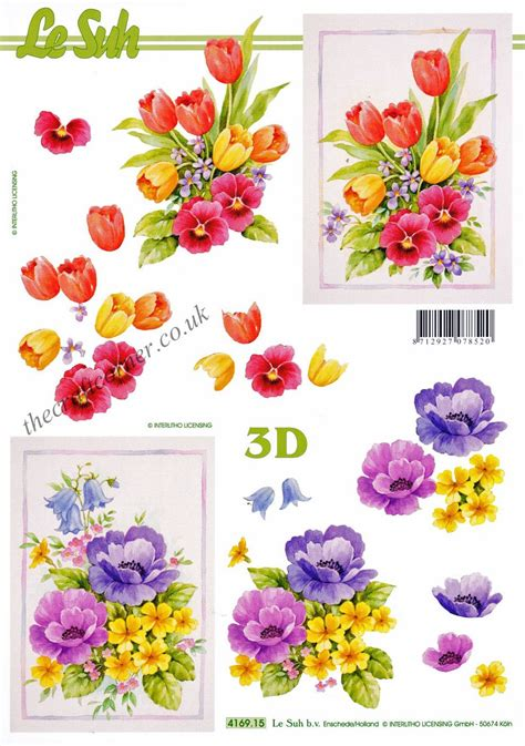 3d decoupage sheets tulips pansy flowers 3d decoupage sheet