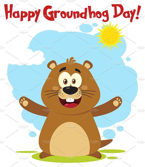groundhog day free marmot with open arms and text illustrations creative