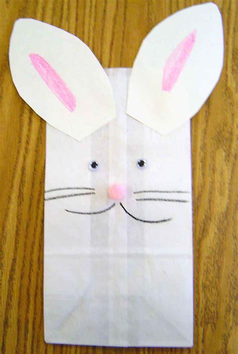 paper bag bunny craft easter theme activities in preschool